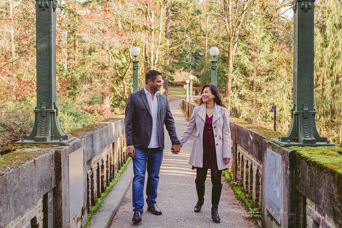 Stephanie Walls Photography 0380 scaled Washington Park Arboretum Engagement with Chi and Saurav