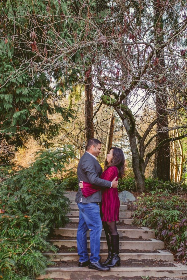 Stephanie Walls Photography 0393 scaled Washington Park Arboretum Engagement with Chi and Saurav