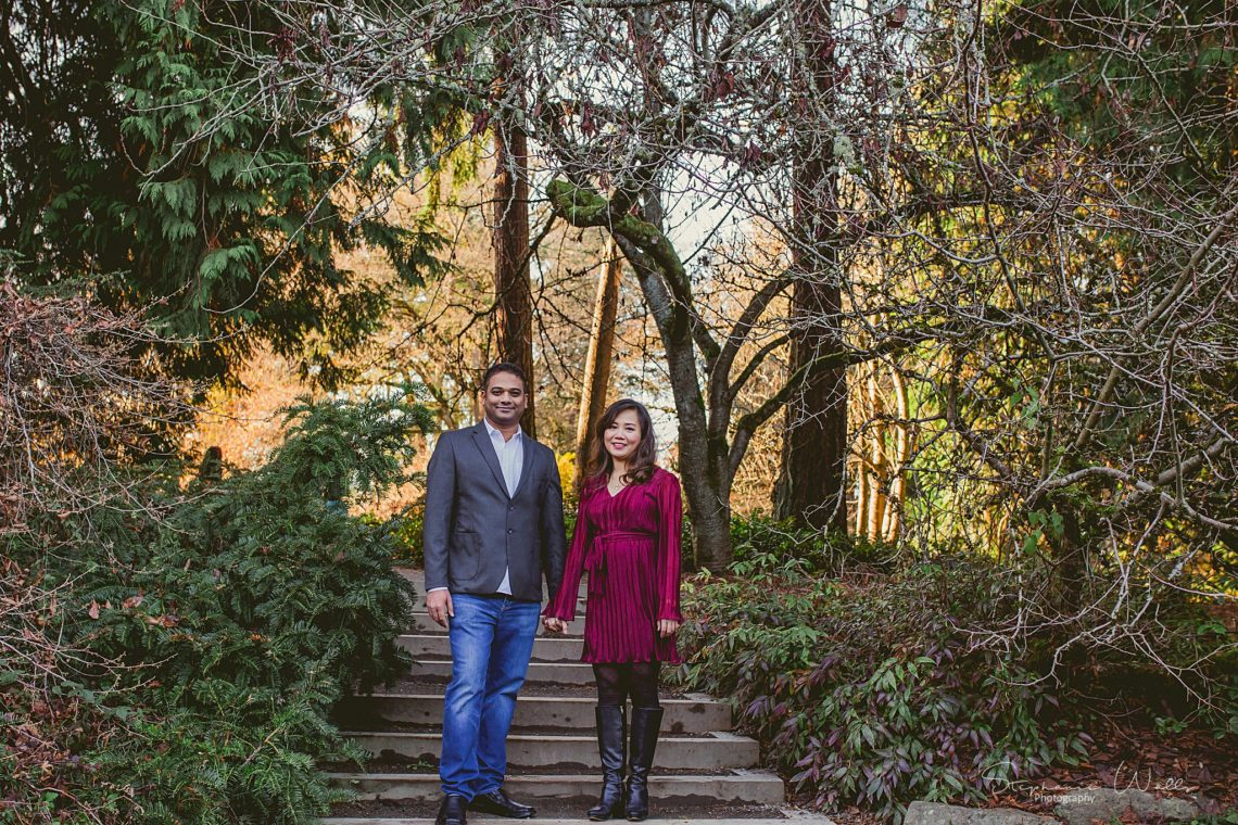 Stephanie Walls Photography 0395 scaled Washington Park Arboretum Engagement with Chi and Saurav