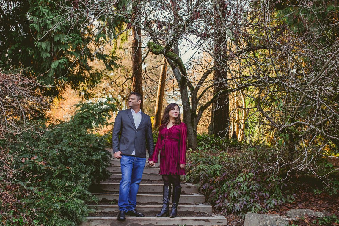 Stephanie Walls Photography 0397 scaled Washington Park Arboretum Engagement with Chi and Saurav